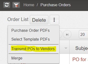 • Bulk Transmit POs to Vendors